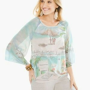 NWT Chico's Seaside Sangria Tee Top Shell Size 3